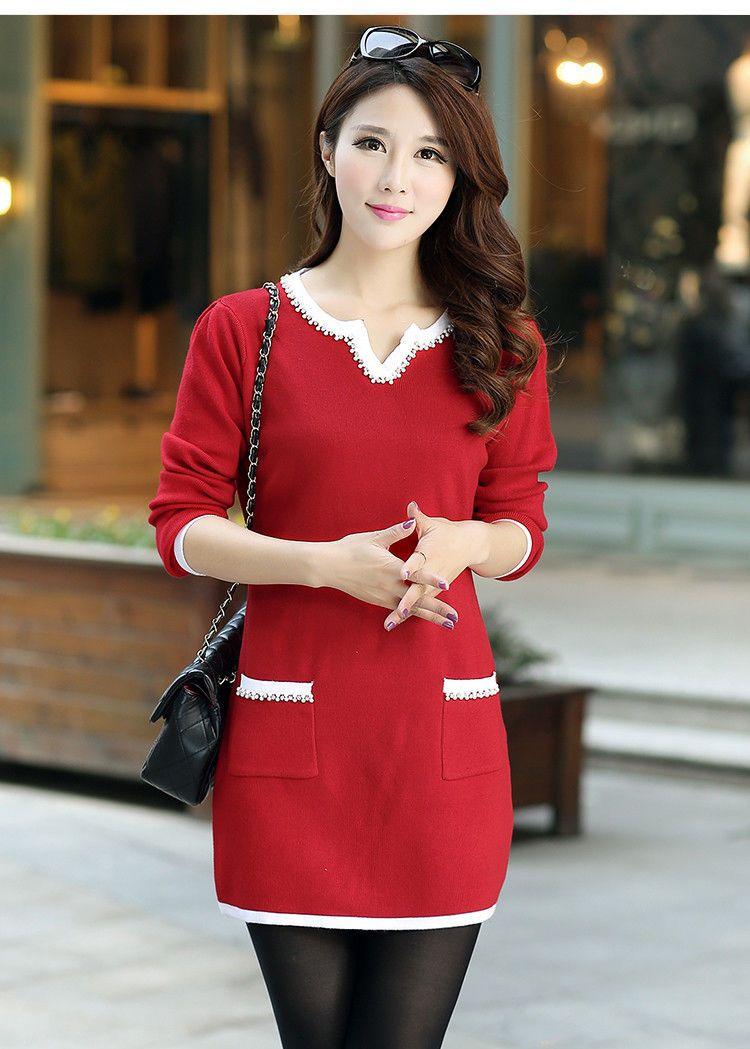 new Autumn winter Korean fashion temperament shitsuke knitting sweater dress