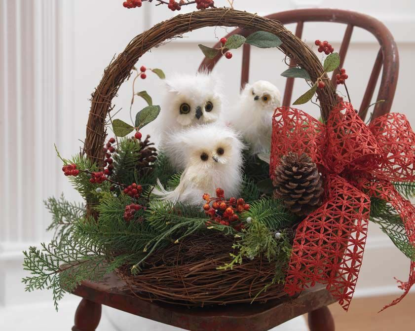 RAZ White Owls  Owl Decoration and Christmas centrepieces