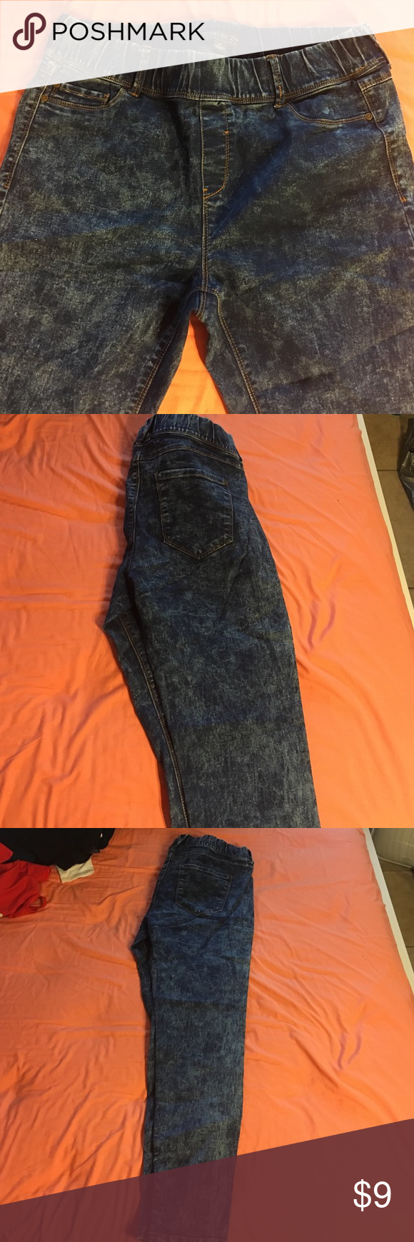 stretchy plus sized F21 acid washed pants. stretchy from top to bottom. stretchy waistline band. no buttons or zipper. no pockets. Forever 21 Pants Skinny