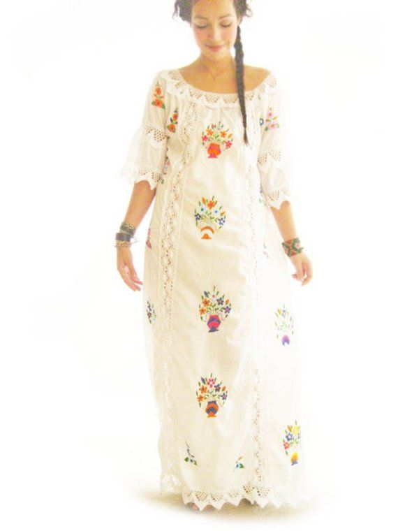 Best Katrina Mexico romantic ethnic vintage Mexican wedding maxi dress lace crochet embroidered off white cotton ethnic