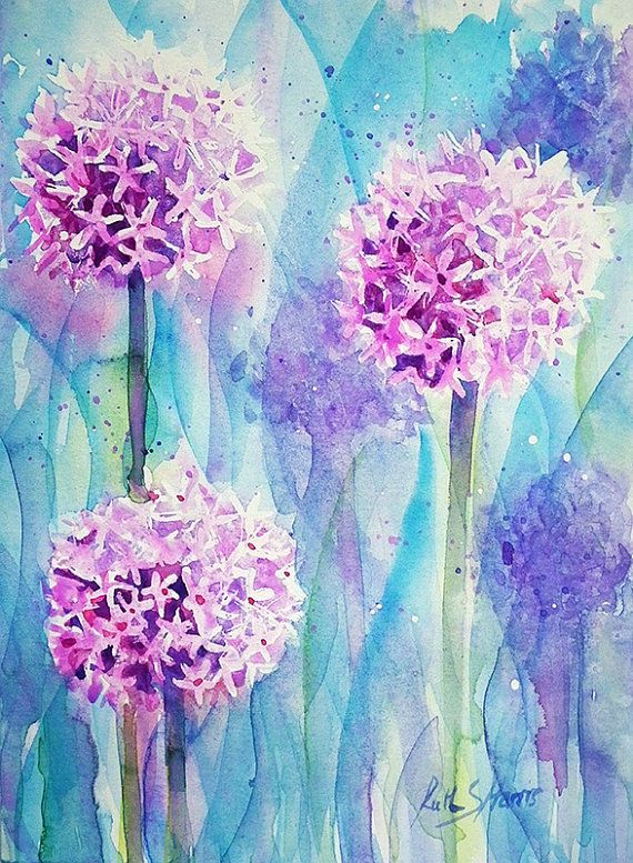 Alliums Original Watercolour Flower Painting Small By Rsharts