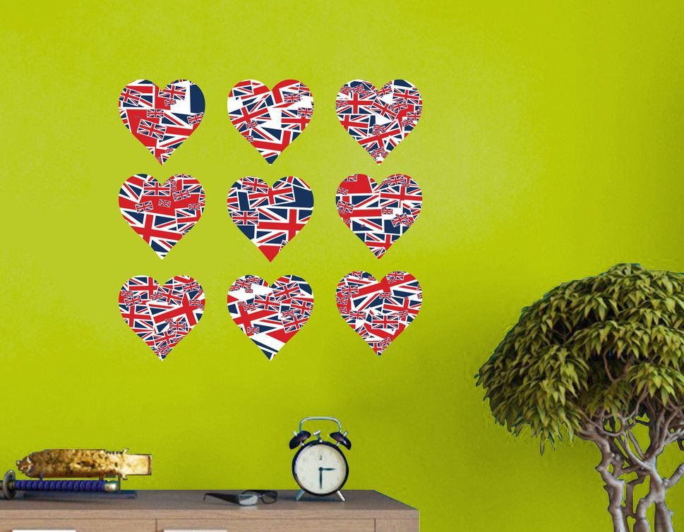 Nine Union Jack Flag love hearts wall art stickers printed in ...