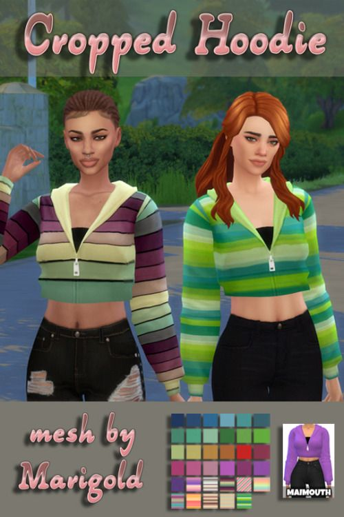 """maimouth: """" Cropped Hoodie Recolors - Sims 4 - """" Updated: 18/9/2016 More…"""