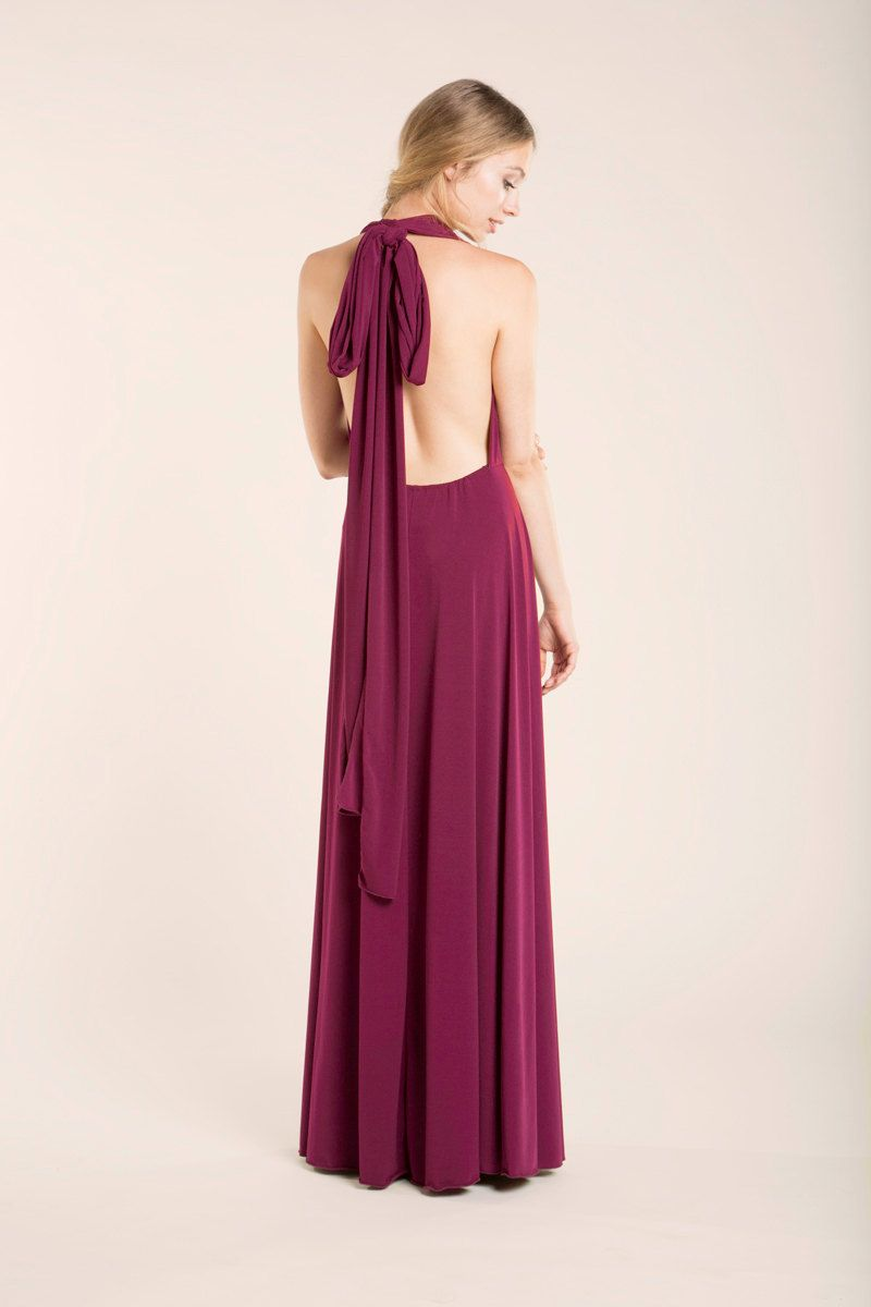 Burgundy long dress floor length infininty dress long party dress