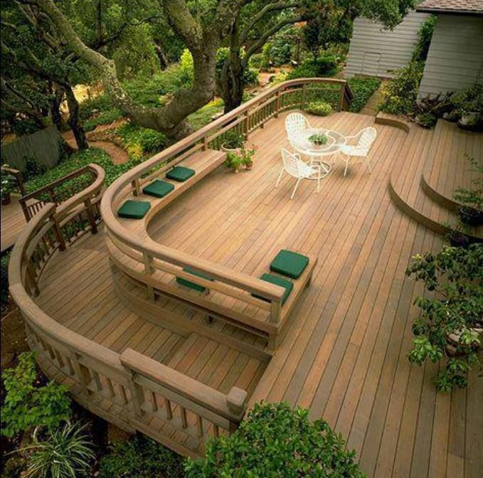 Gorgeous deck beautiful love the curved steps for Garden decking seating ideas