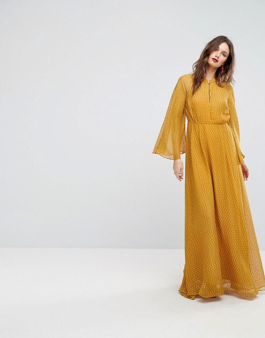 e0b27027075  ASOS -  Y.A.S Y.A.S Maxi Dress With Fluted Sleeve - Yellow - AdoreWe.com