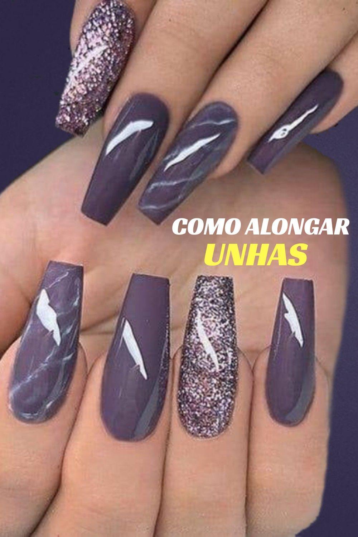 Como Alongar Unhas In 2020 Purple Nails Mauve Nails Fall Nail Designs