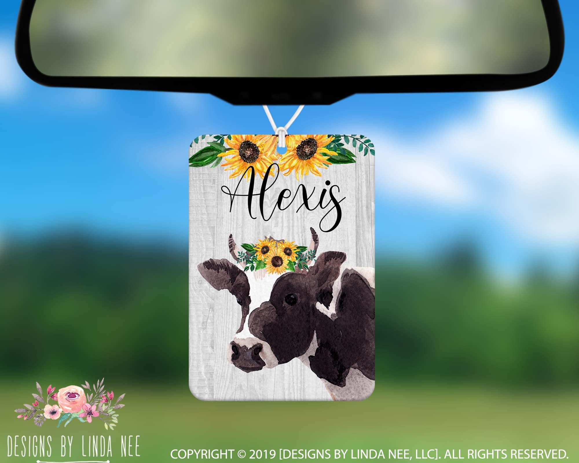 Monogrammed Car Air Freshener Cow with Sunflowers