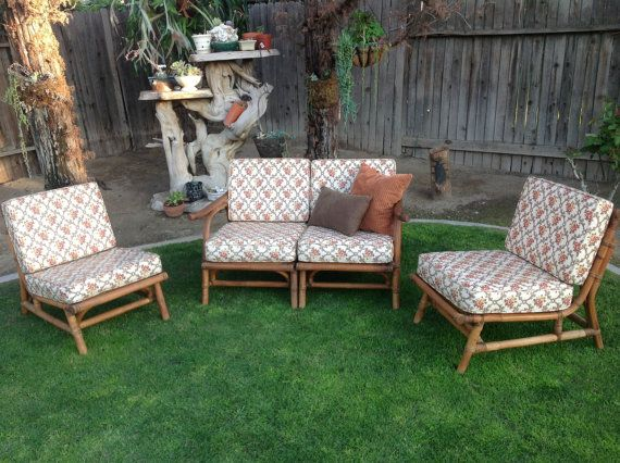 1950s Bamboo Patio Furniture Modular Sectional Love Seat And Chairs