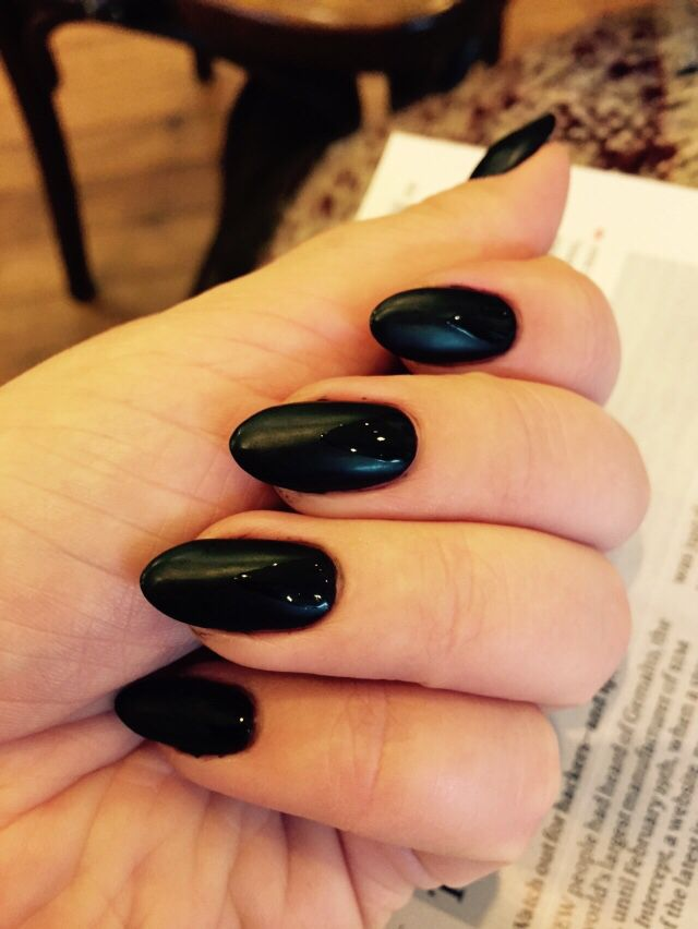 Matte Shiny Black Shellac Nails Cnd All The Way