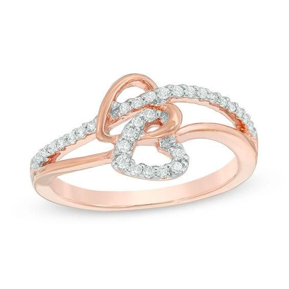 Zales 1/10 CT. T.w. Diamond Interlocking Hearts Ring in 10K Rose Gold zgRoToSq