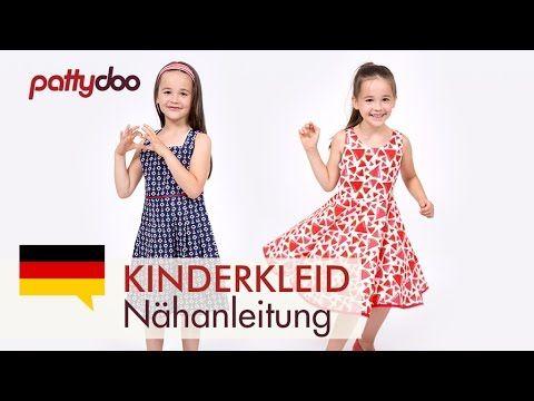 Einfaches Kinderkleid mit Schleife und Tellerrock nähen - Saum mit Schrägband - YouTube
