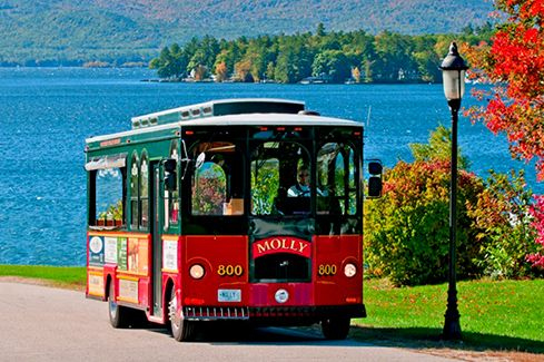 """Wolfeboro Trolley Company (Wolfeboro, NH):  """"Discover America's Oldest Summer Resort in a Turn-of-the-Century-Style Trolley. Narrated 45-minute tours of historic Wolfeboro feature scenic views of Lake Winnipesaukee, beautiful waterfront homes and many points of interest.""""  http://www.wolfeborotrolley.com/"""