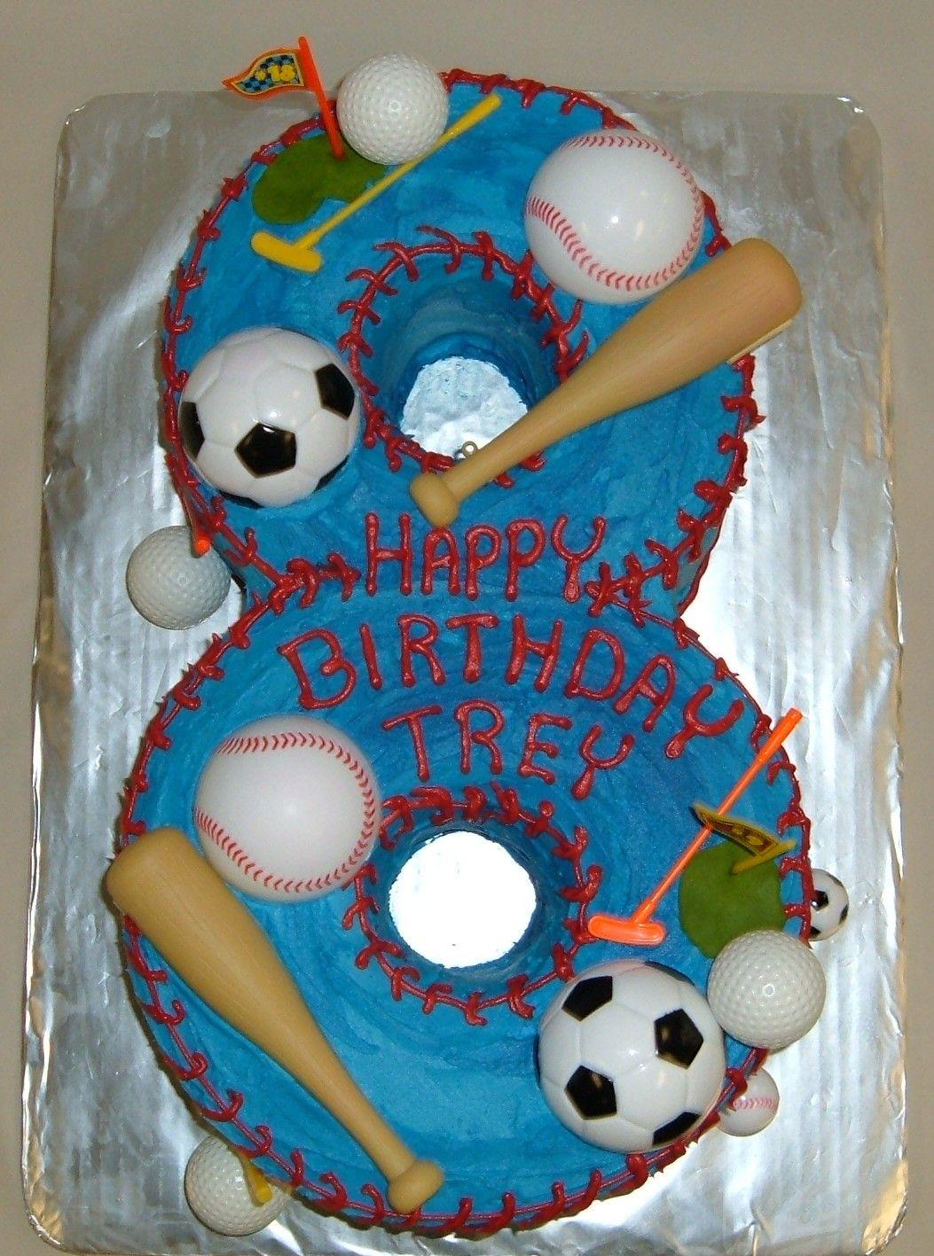 Custom Shaped Numeral Sports Cake Happy 8th Birthday Trey