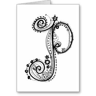 Fancy AlphabetTM Letter P Greeting Card