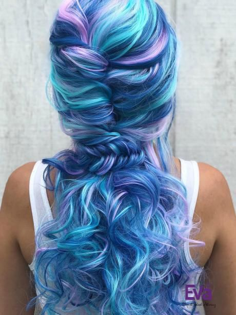 Beautiful Pastel Mixed Color Wavy Long Synthetic L