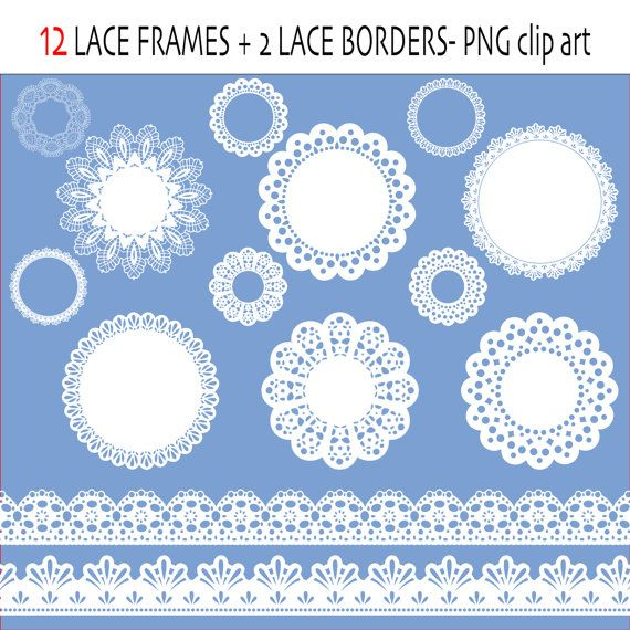 Lace Clip Art Labels Or Frames Ribbon Borders In White Digital