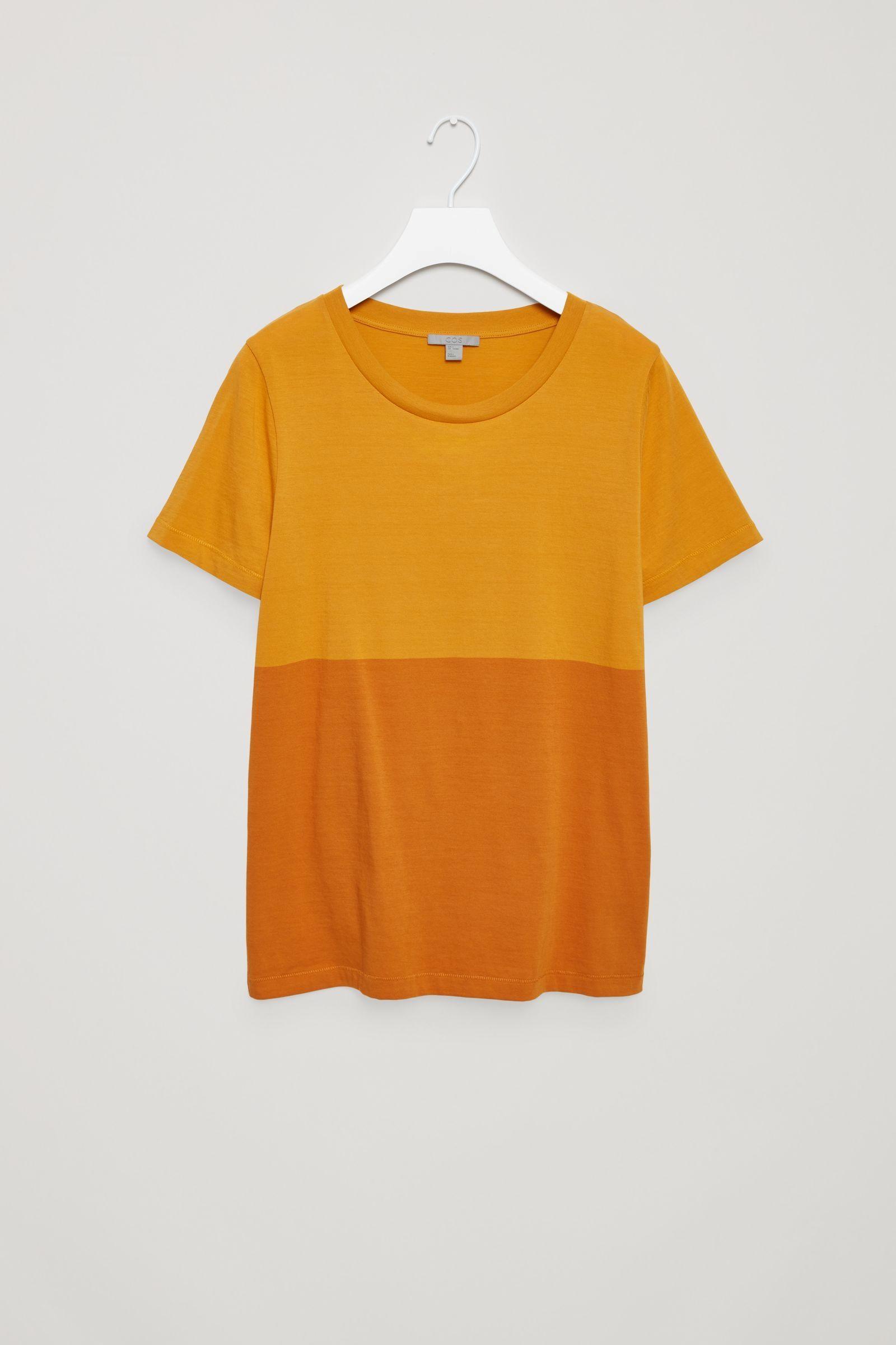 d7c1c91994 Colour-block cotton t-shirt - Mustard - New - COS GB in 2019 | t ...