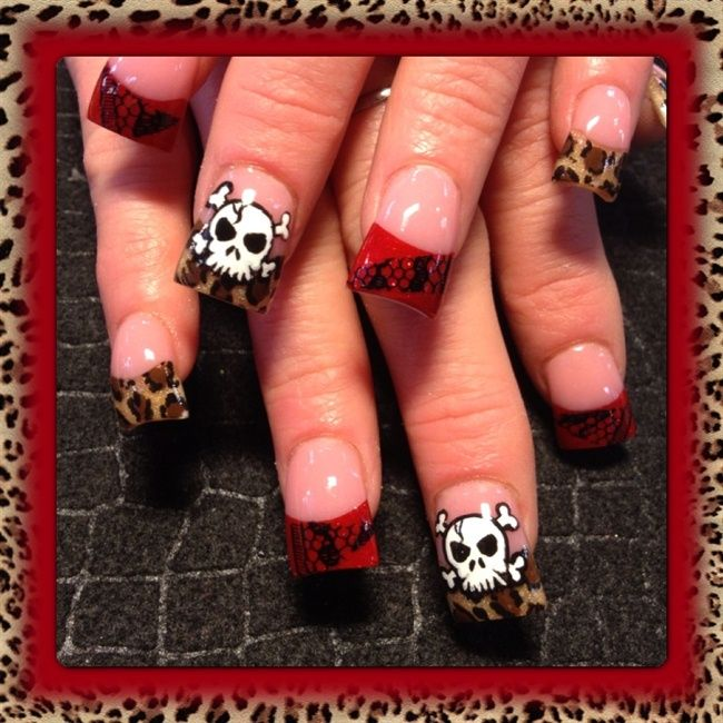 Leopard and skulls - Nail Art Gallery It would be better with ...
