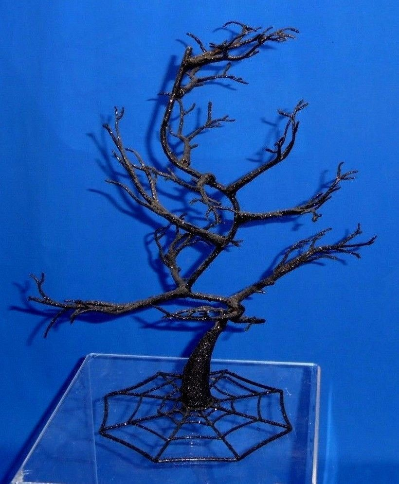 "Black Spooky Home Decor 15"" Tall Halloween Tree w/ Spider Web Base 9"" Span A235…"