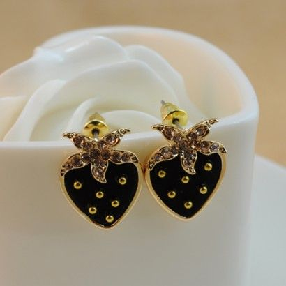 Black Strawberry Alloy Plated Gold