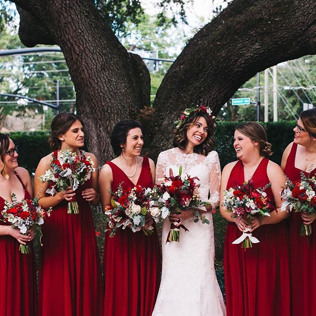 A Rustic Red And White Woodland Inspired Central Florida Wedding Every Last Detail Red Wedding Dresses Christmas Bridesmaid Dresses Wedding Dress Alterations