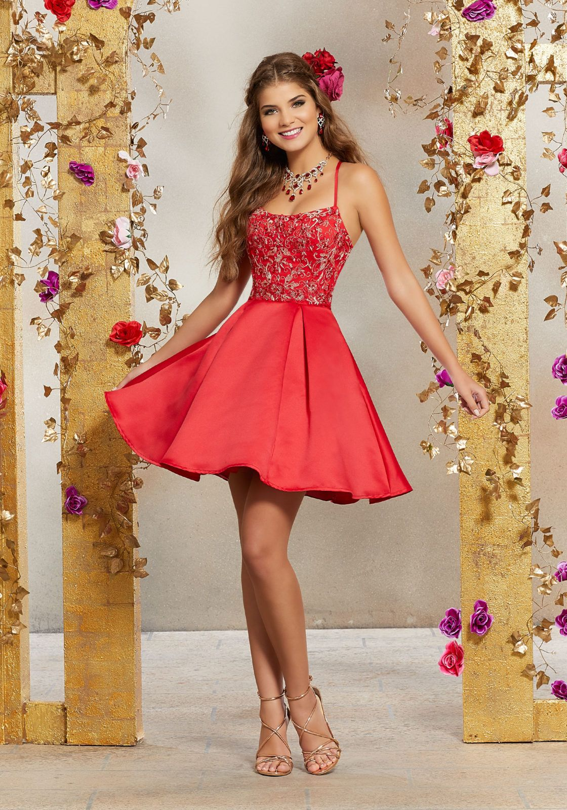 Satin Party Dress with Crystal Beaded Embroidery |