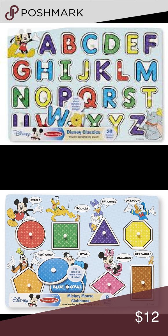 Melissa /& Doug Disney Mickey Mouse Shapes and Colors Wooden Peg Puzzle 8 pcs