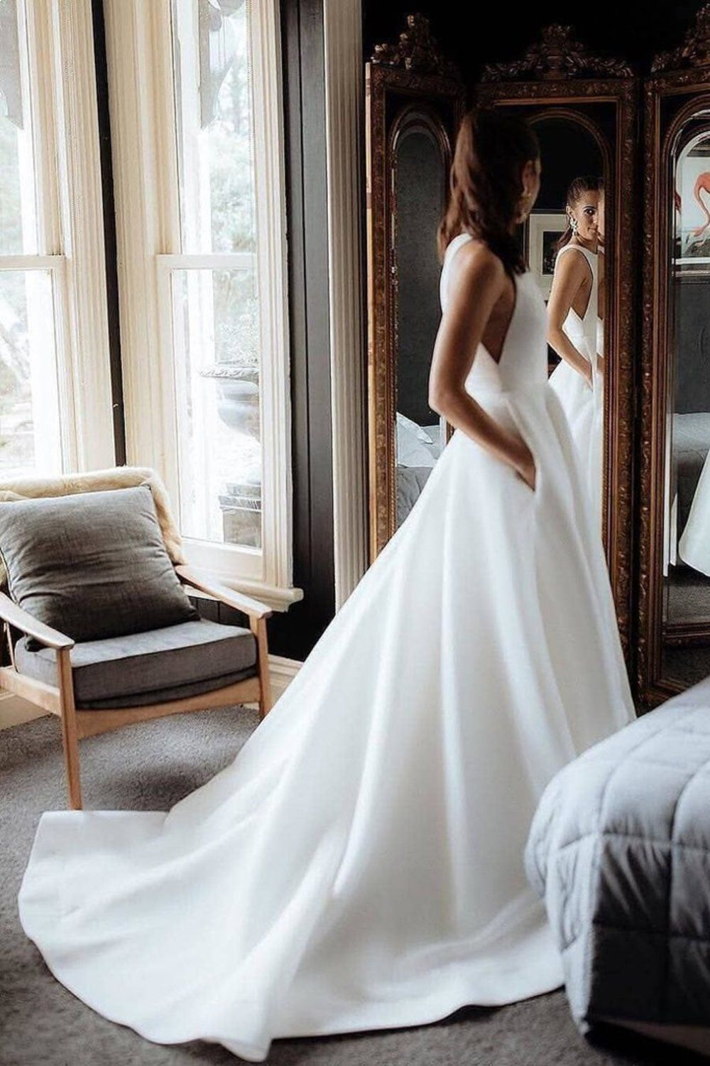 Simple Round Neck Satin Ivory Wedding Dresses With Pockets, Long Wedding Gowns