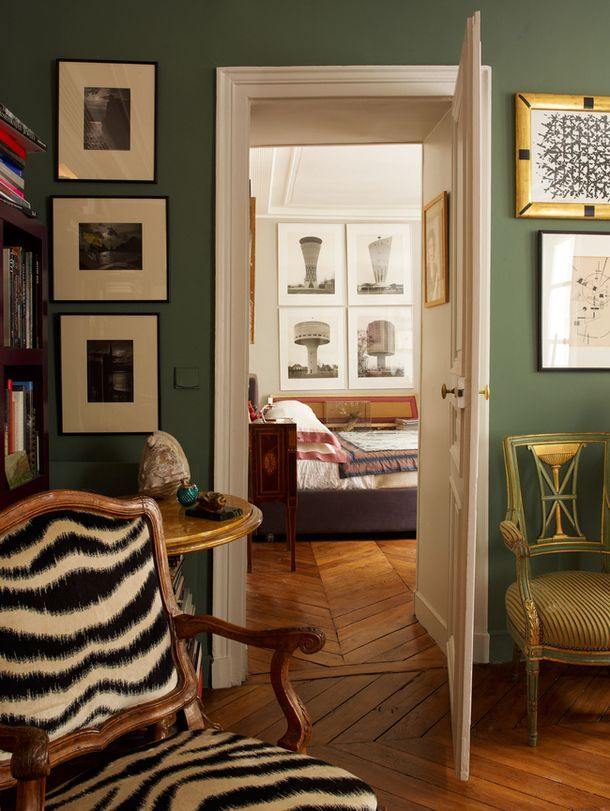 Muted Green And Zebra Print Guest Room Colors Interior Cottage Style Interiors #zebra #chairs #for #living #room
