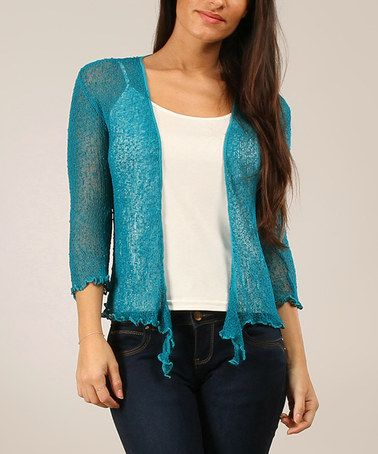 Kushi by Jasko Petro Blue Sheer Open Cardigan | Zulilyfinds ...