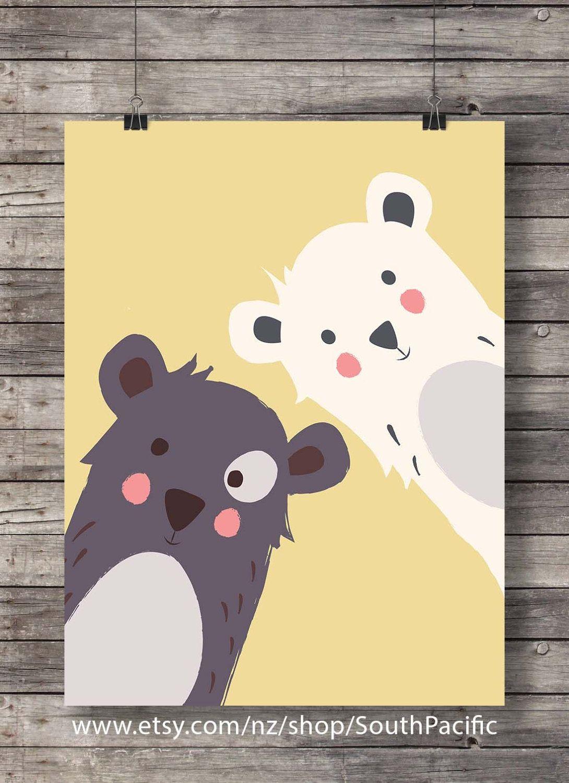 Printable art | Mama and Baby bear print | Nursery decor kids ...