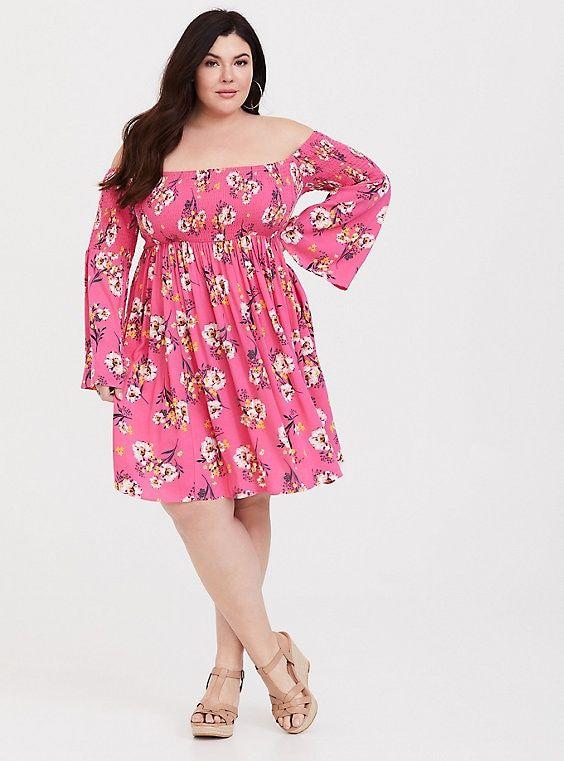 df3028da50 Pink Floral Challis Smocked Skater Dress in 2019