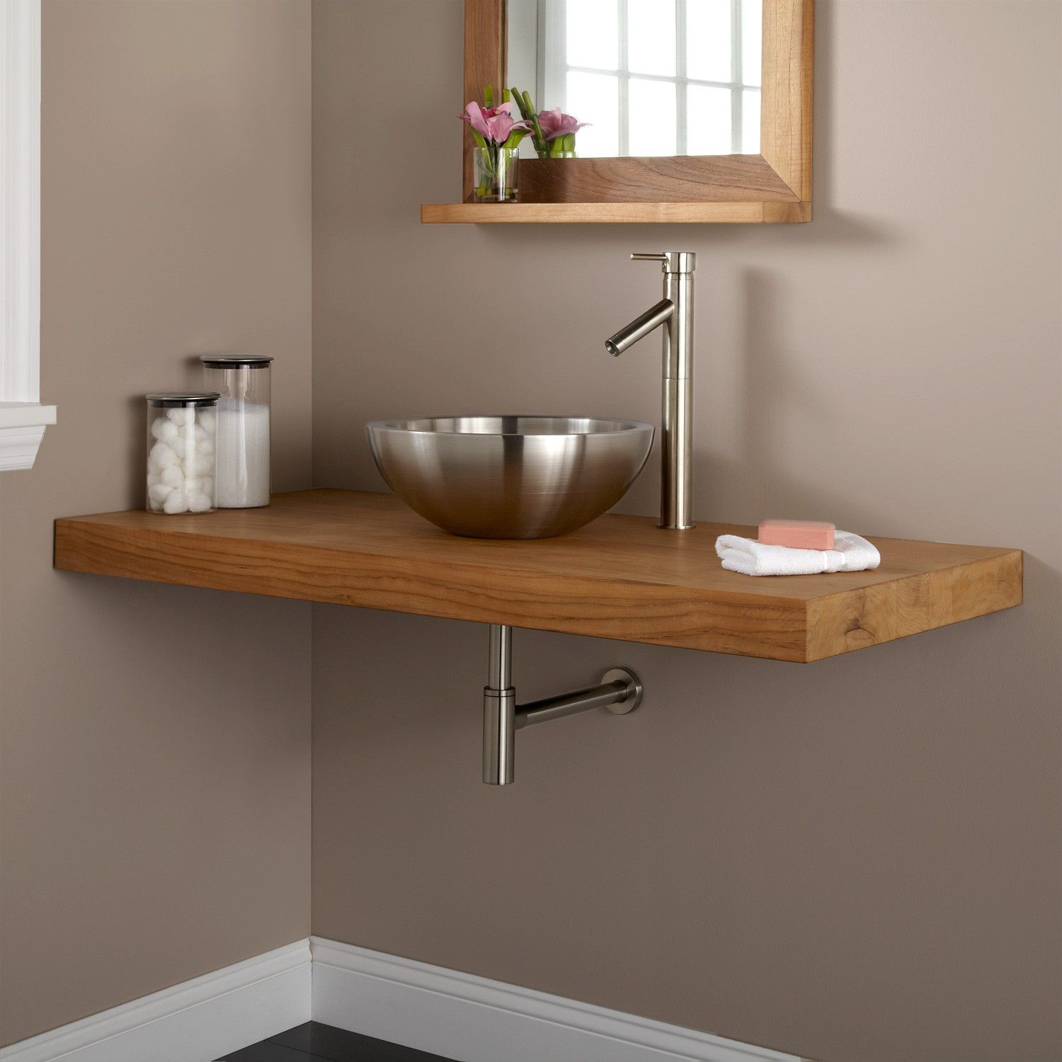 Wall Mount Vanity Top For Vessel Sink   Custom Made Smaller In Quarter Sawn  Oak