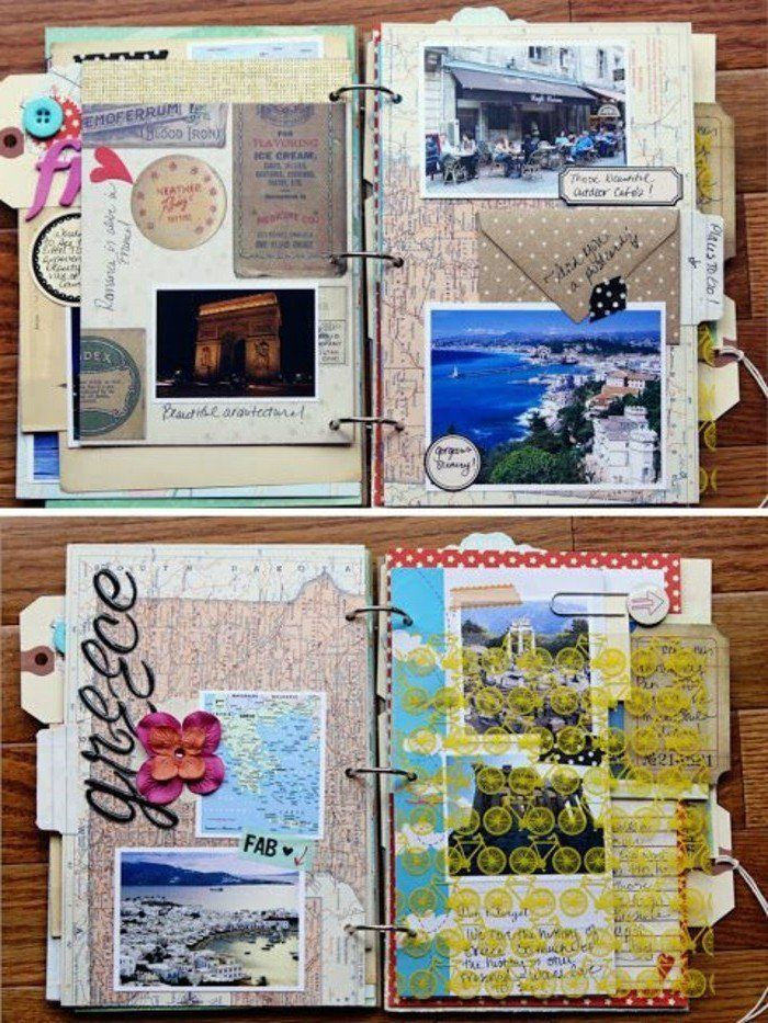 comment faire un carnet de voyage id es inspirantes en 60 photos scrapbooking journal and scrap. Black Bedroom Furniture Sets. Home Design Ideas