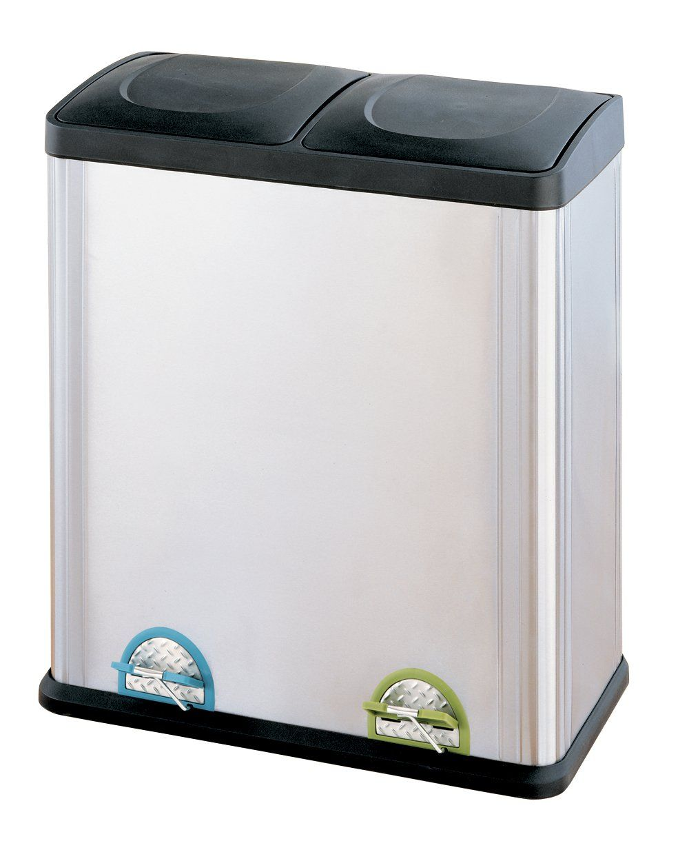 Organize It All Stainless Steel Step Side By Double Compartment Recycler