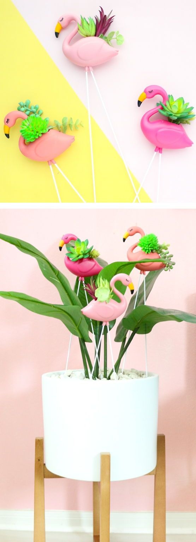 Diy Mini Flamingo Planters A Kailo Chic Life Diy Flower Pots Flamingo Diy