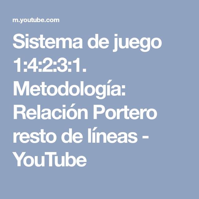 Sistema de juego 1:4:2:3:1. Metodología: Relación Portero resto de líneas - YouTube