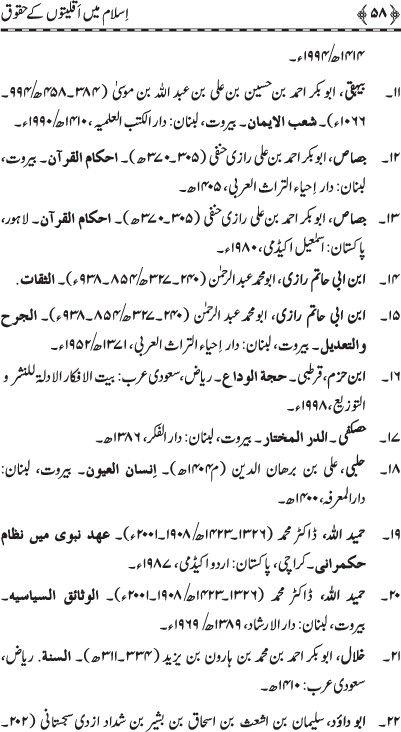 Complete Book: Islam main Aqlitoon Ky Haqooq ---  Written By: Shaykh-ul-Islam Dr. Muhammad Tahir-ul-Qadri --- page # 58