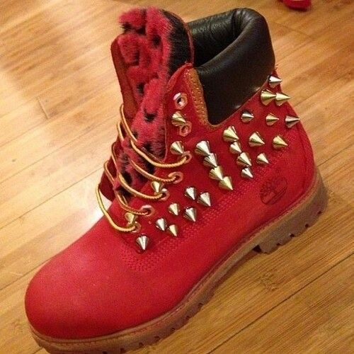 shoes timberlands jewels marques timberland french rouge cloue red spikes  red timberlands boots spiked shoes boots spiked studs custom spikes and  studs ...
