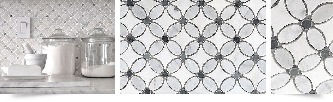 White Gray Marble Flower Mosaic Tile Backsplash Com Grey