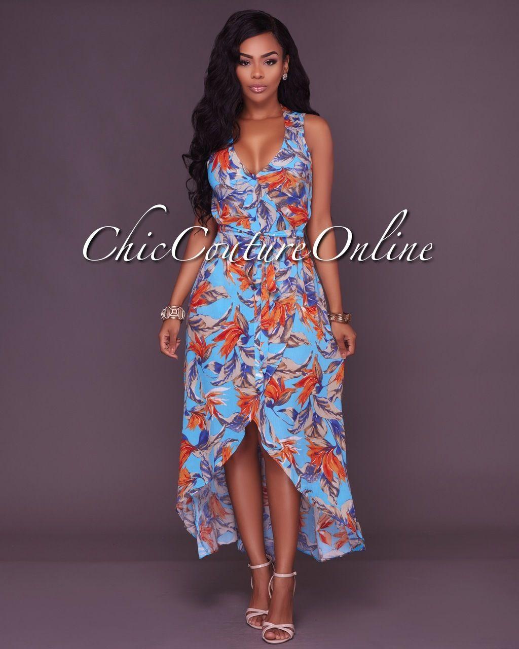 Orange Color Block Striped Print Sashes Plus Size Deep V neck Bohemian Maxi Dress