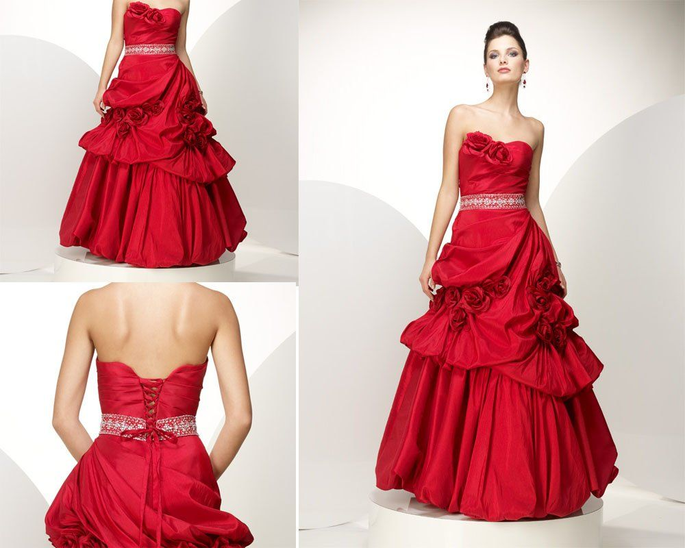 red wedding wedding dresses with color glamorous princess red