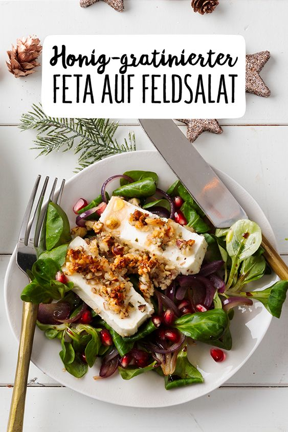 Honig-gratinierter Feta mit Feldsalat & Granatapfel-Vinaigrette #herbstgerichte