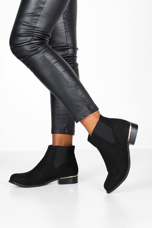 Wide Width Metal Trim Chelsea Boots