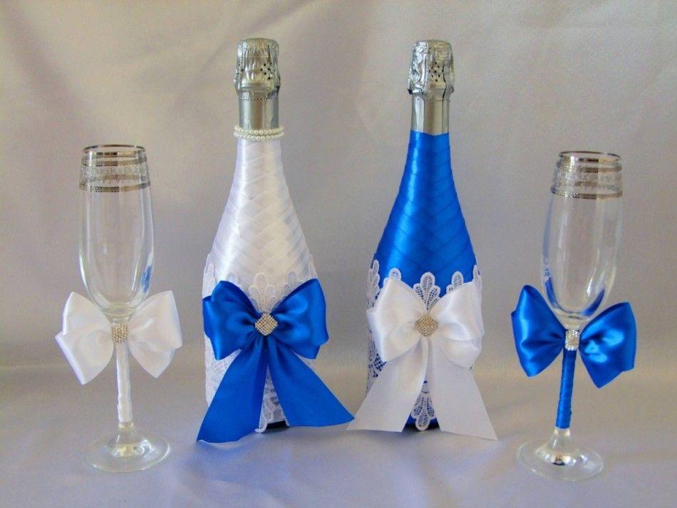 Свадебное шампанское своими руками лентами 488