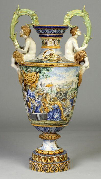 Italian Majolica Hand Painted Urn With Goat Handles