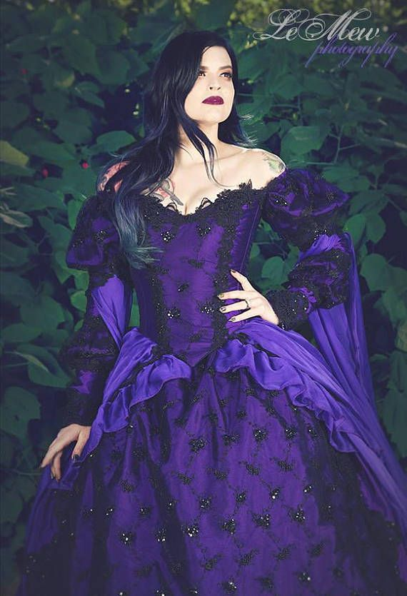 Gothic Wedding Gown Sleeping Beauty Purple And Black Sparkle