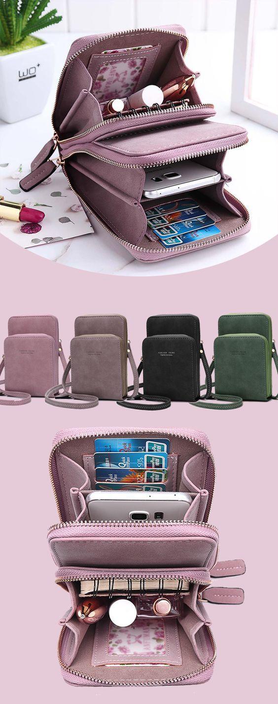 qingqingR Femmes Toile Crossbody Mobile T/él/éphone Petit Sac /à Bandouli/ère Pochette Porte-Monnaie Portefeuille