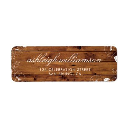 White Peonies  Rustic Wood Country Wedding Label Wedding labels